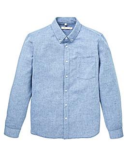 W&B Blue Long Sleeve Linen Mix Shirt Regular