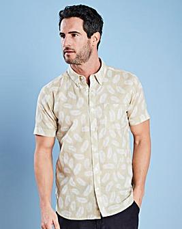 W&B Natural Print Linen Mix Shirt R