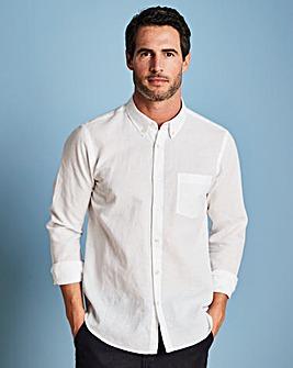 W&B White Long Sleeve Linen Mix Shirt Regular