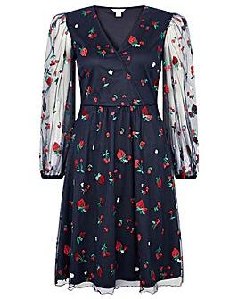 Monsoon Zariah Strawberry Emb Wrap Dress