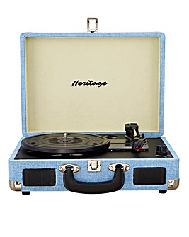 Heritage Suitcase Turntable Blue