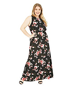 Mela London Curve Floral High Neck Maxi Dress In Black