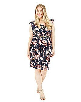Mela London Curve Abstract Floral Bodycon Dress In Navy