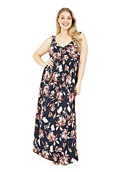 Mela London Curve Abstract Floral Maxi Dress In Navy