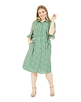 Yumi Curves Green Floral Tie Shirt Dress