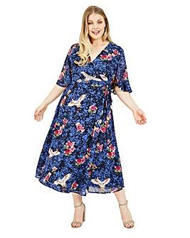 Yumi Curves Crane Print Wrap Midi Dress In Blue