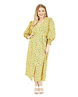 Yumi Curves Yellow Floral Tie Midi Dress