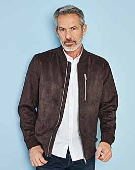W&B Brown Mock Suede Bomber Jacket R