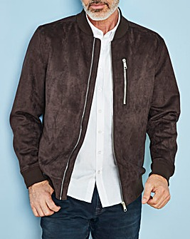 Brown Mock Suede Bomber Jacket R