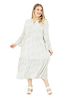 Yumi Curves Polka Dot Smock Dress In White
