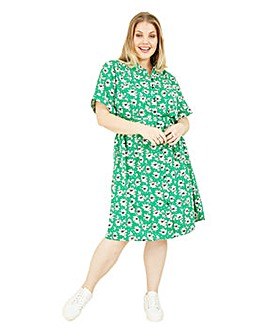 Yumi Curves Green Floral Shirt Dress