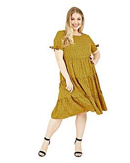 Yumi Curves Mustard Animal Print Tiered Tunic Dress