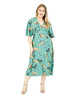 Yumi Curves Green Crane Print Midi Dress