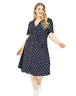 Yumi Curves Navy Polka Dot Shirt Dress