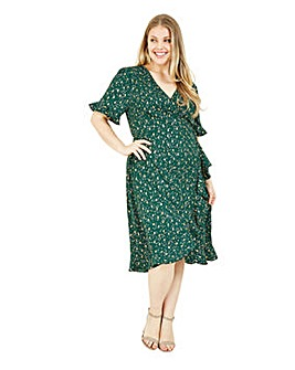 Yumi Curves Green Foil Print Wrap Dress