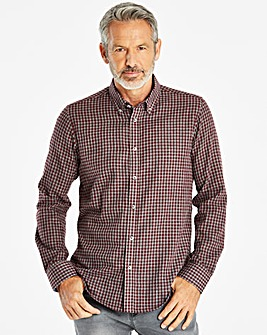 W&B Wine/Grey Check Long Sleeve Shirt R