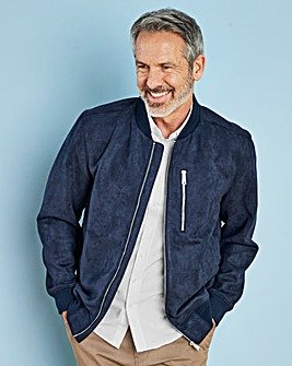 W&B Navy Mock Suede Bomber Jacket R