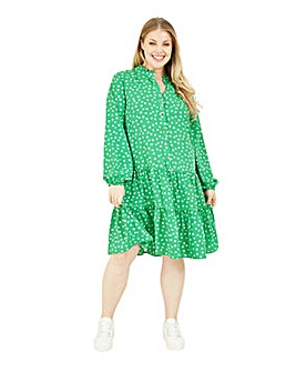 Yumi Curves Ditsy Floral Tiered Tunic Dress In Green