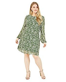 Yumi Curves Green Ditsy Georgette Tunic Dress