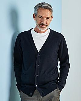 W&B Navy Wool Mix Button Cardigan R