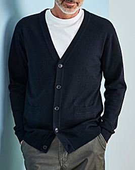 W&B Navy Wool Mix Button Cardigan R