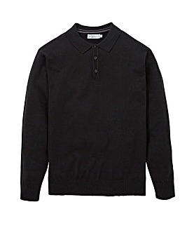 W&B Black Wool Mix Polo Neck Jumper R