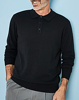 Black Wool Mix Polo Neck Jumper R