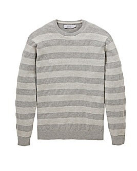 W&B Grey Crew Neck Stripe Jumper R