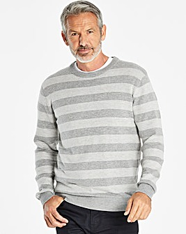 W&B Grey Crew Neck Stripe Jumper Regular