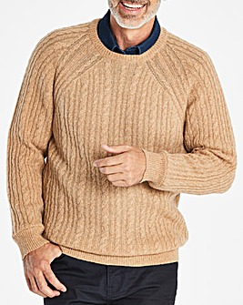 W&B Camel Lambswool Cable Jumper R