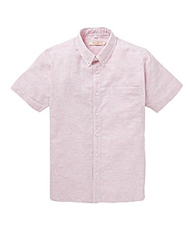 W&B Pink Stripe Short Sleeve Linen Mix Shirt Regular