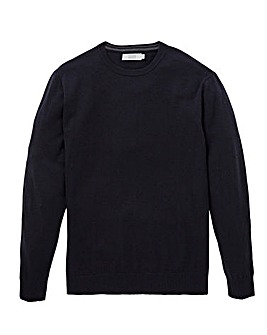 W&B Navy Wool Mix Crew Neck Jumper Regular