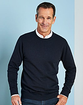 W&B Navy Wool Mix Crew Neck Jumper R