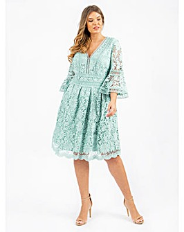 Lovedrobe Luxe Aqua Lace Skater Dress