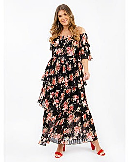 Lovedrobe Luxe Floral Bardot Maxi Dress