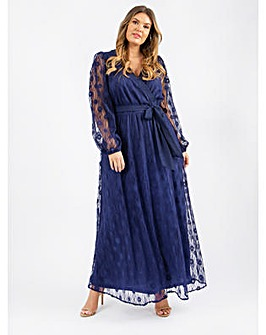 Loverdrobe Luxe Blue Lace Maxi Dress