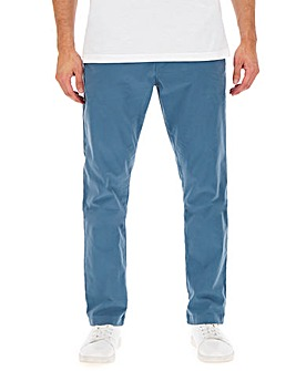 Mid Blue Regular Fit Stretch Chinos 33 Inch