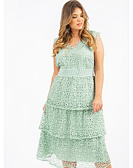 Lovedrobe Luxe Sage Skater Midi Dress