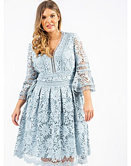 Lovedrobe Luxe Blue Lace Skater Dress