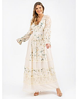 Lovedrobe Luxe Cream Floral Maxi Dress