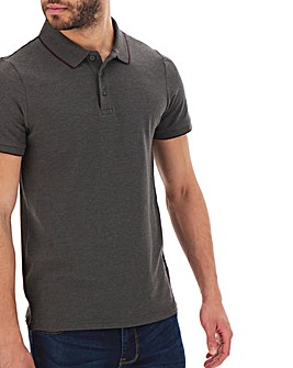 Charcoal Stretch Tipped Polo Long