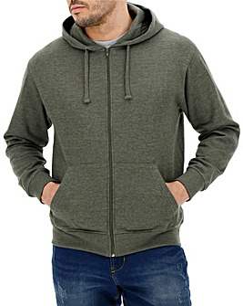 Khaki Marl Full Zip Hoody Long