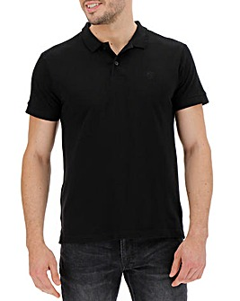 Black Short Sleeve Embroidered Polo Long