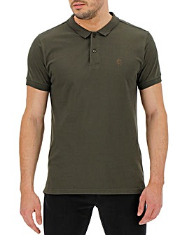 Khaki Short Sleeve Embroidered Polo Long
