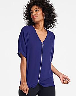 Blue Zip Front Blouse