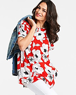 Red Print Longline Drop Sleeve Boxy Top with Curved Hem