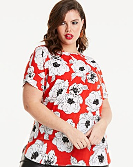 Red Print Longline Drop Sleeve Boxy Top