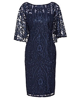 Gina Bacconi Leilani Sequin Cape Dress