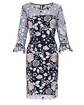 Gina Bacconi Embroidery Dress with Cuff