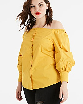 Fashion Union Bardot Ruffle Sleeve Top
